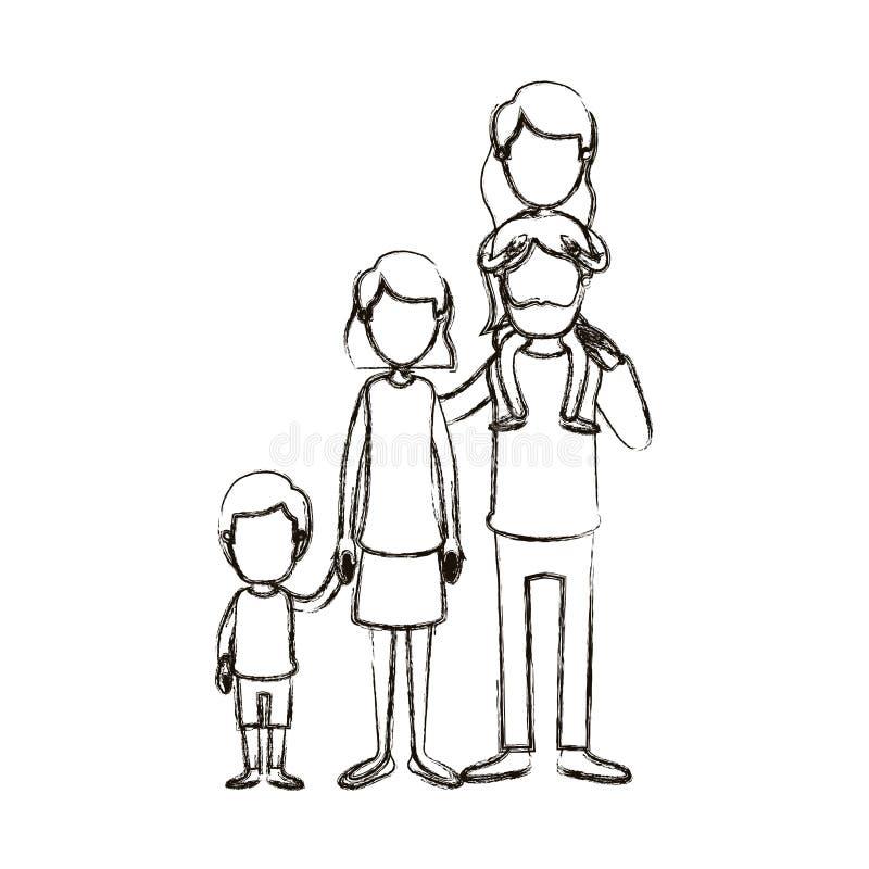 Unscharfe gesichtslose große Familieneltern der Schattenbildkarikatur mit Mädchen auf seiner Rückseite und Sohn genommenen Händen stock abbildung