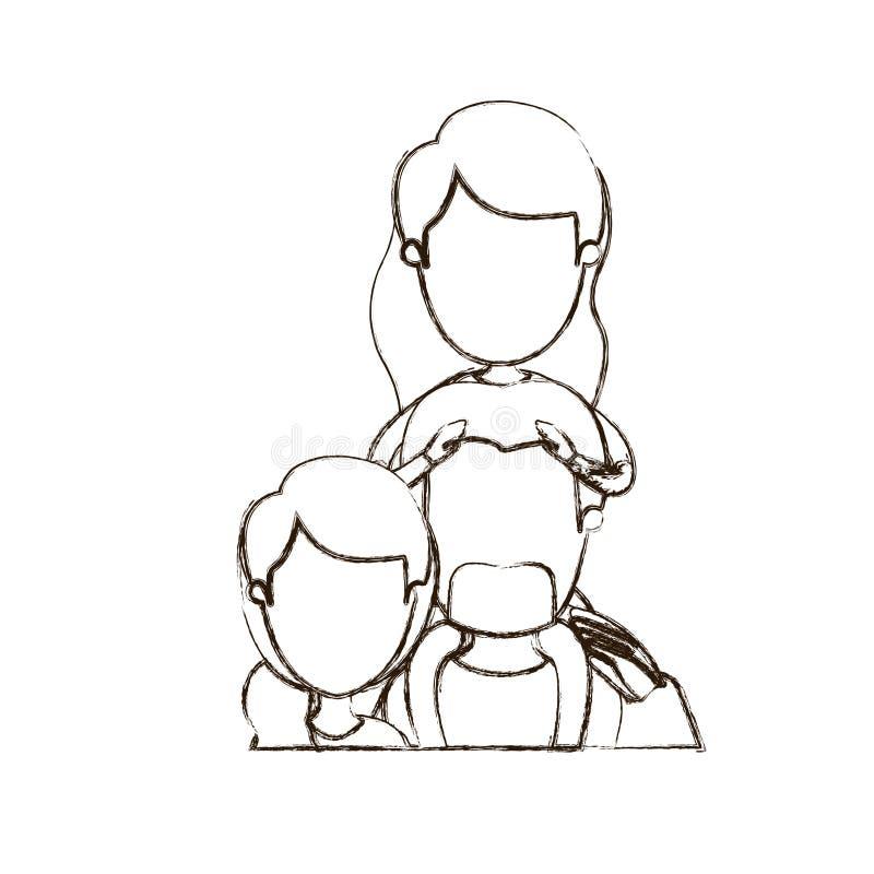 Unscharfe gesichtslose halbe Körperfamilie der dünnen Konturnkarikatur mit Mutter und Vater mit dem Schnurrbart und Mädchen auf s vektor abbildung