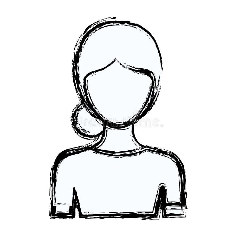 Unscharfe gesichtslose halbe Körperfrau des Schattenbildes mit Brötchen gesammelter Frisur stock abbildung