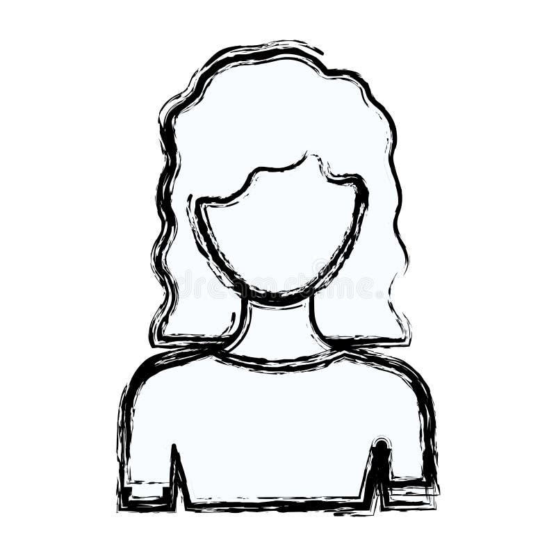 Unscharfe gesichtslose halbe Körperfrau des Schattenbildes mit dem gewellten mittleren Haar lizenzfreie abbildung