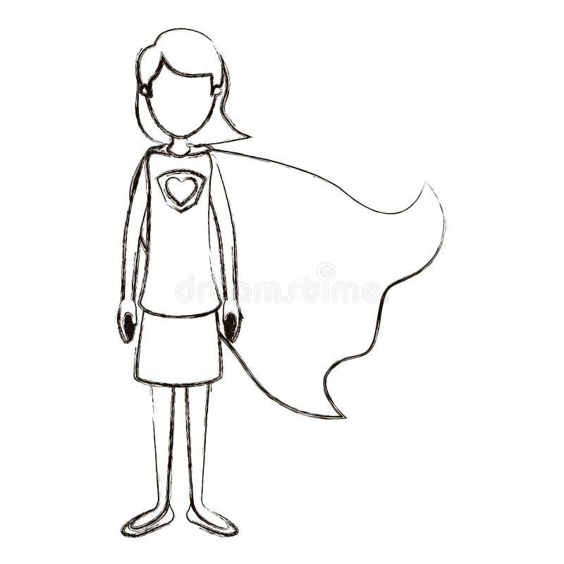 Unscharfe gesichtslose volle Körper-Superheldfrau der Schattenbildkarikatur mit dem kurzen Haar und Kappe lizenzfreie abbildung
