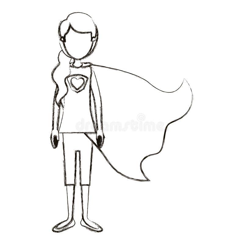 Unscharfe gesichtslose volle Körper-Superheldfrau der Schattenbildkarikatur mit dem Pferdeschwanzhaar und -kappe lizenzfreie abbildung