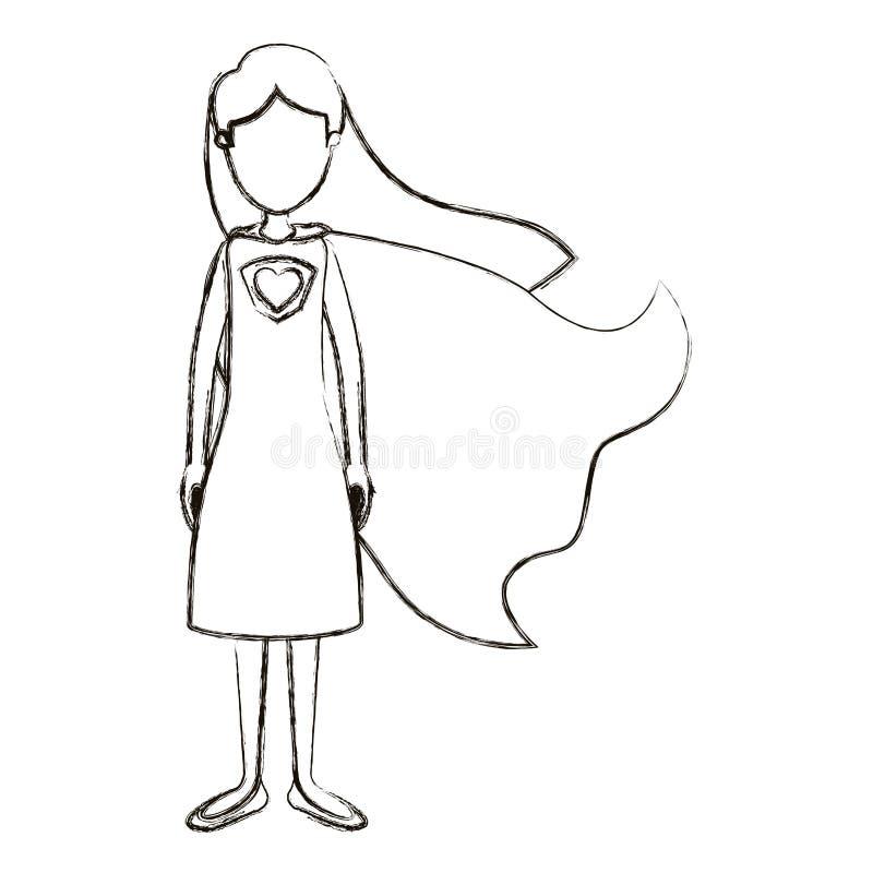 Unscharfe gesichtslose volle Körper-Superheldfrau der Schattenbildkarikatur mit Kleid und Kappe stock abbildung
