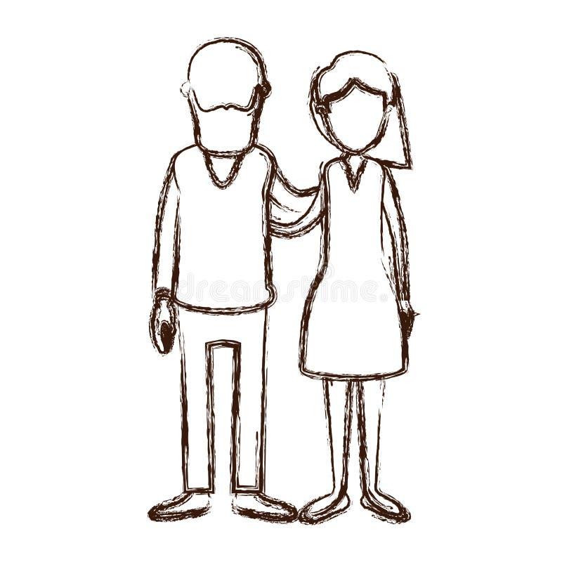 Unscharfe gesichtslose volle Körperfrau der starken Schattenbildkarikatur mit Seitenkurzhaarfrisur und bärtiger Mann, der Paare u lizenzfreie abbildung