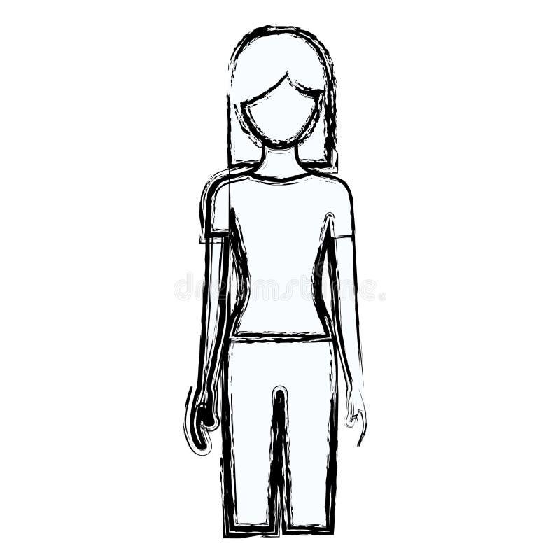 Unscharfe gesichtslose Vorderansichtfrau des Schattenbildes mit Hosen und dem kurzen Haar vektor abbildung