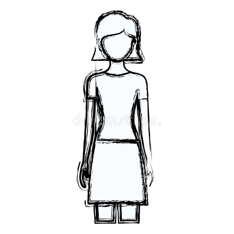 Unscharfe gesichtslose Vorderansichtfrau des Schattenbildes mit Rock und kurzer gerader Frisur stock abbildung