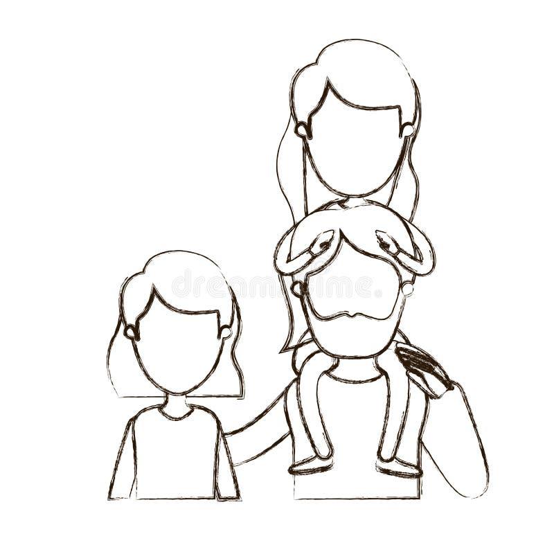 Unscharfe Körperfamilie der Vorderansicht der dünnen Konturnkarikatur gesichtslose halbe mit Frau des kurzen Haares und bärtigem  vektor abbildung