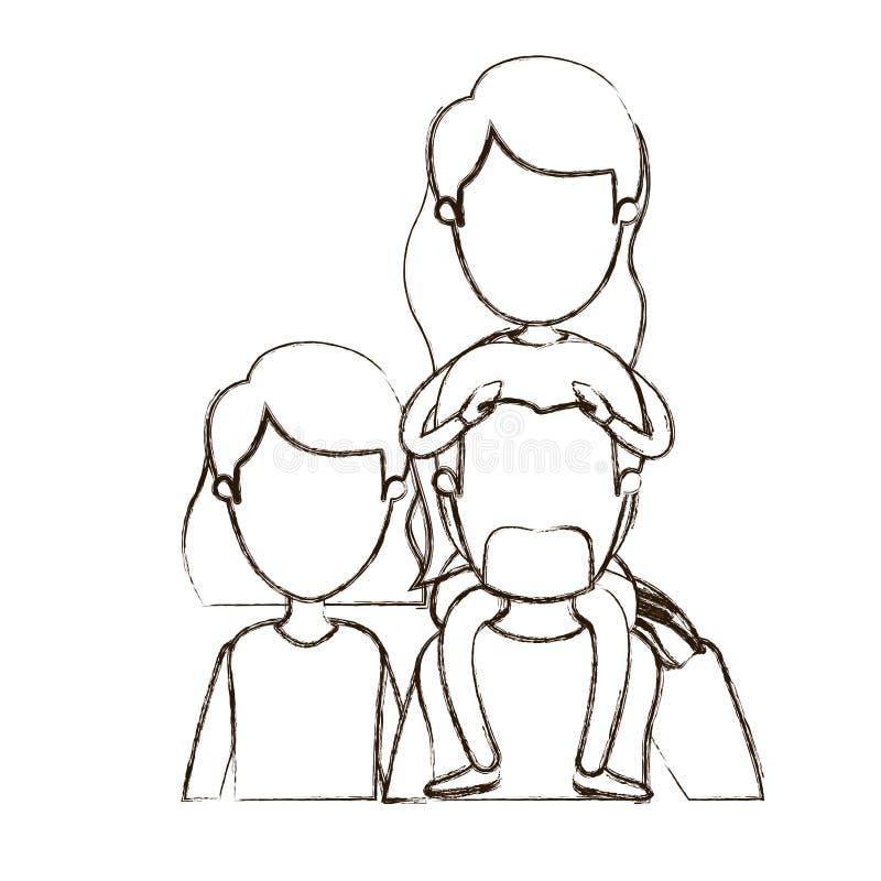 Unscharfe Körperfamilieneltern der Vorderansicht der dünnen Konturnkarikatur gesichtslose halbe mit Mädchenlanghaarfrisur auf sei vektor abbildung