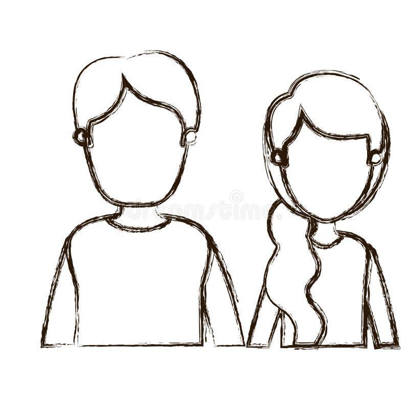 Unscharfe Körperpaarfrau der Vorderansicht der starken Schattenbildkarikatur gesichtslose halbe mit dem Seitenpferdeschwanzhaar u lizenzfreie abbildung