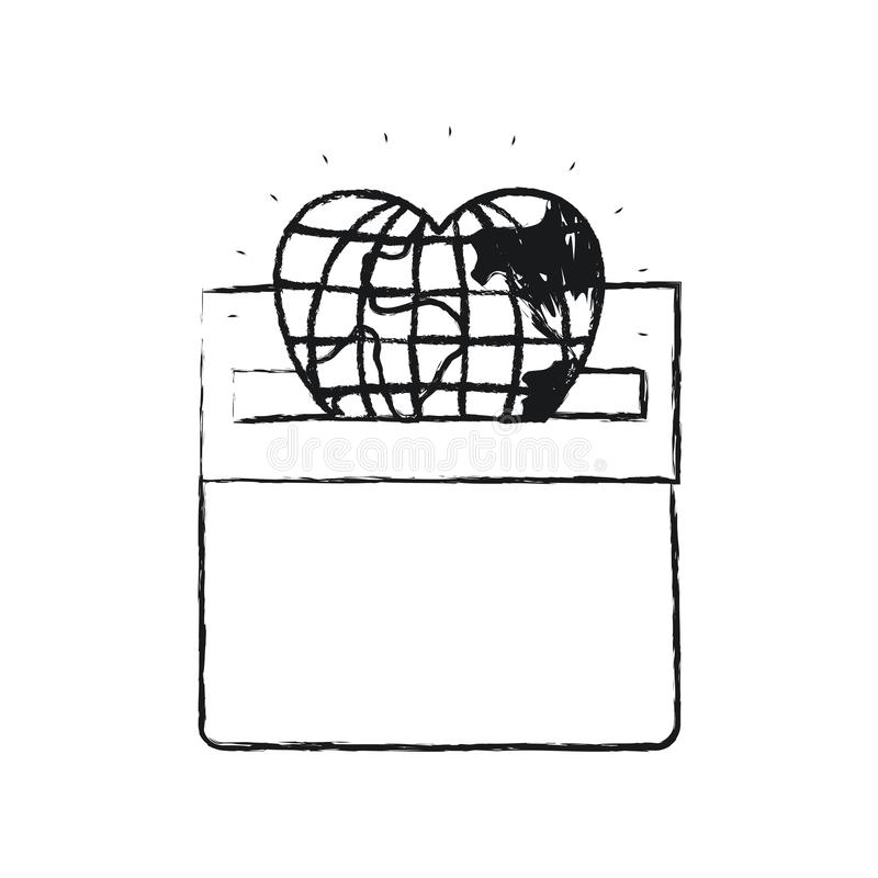 Unscharfe Kugelerdwelt der Vorderansicht des Schattenbildes flache in der Herzform, die in einem Kartonkasten niederlegt vektor abbildung