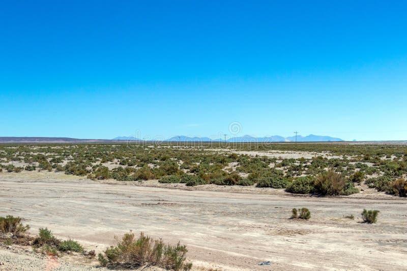 Unscharfe Landschaft der bolivianischen Wüste am sonnigen Tag mit blauem Himmel Eduardo Avaroa Park, Bolivien stockfotos