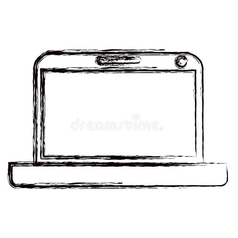 Unscharfe moderne Laptoptechnologie der starken Kontur vektor abbildung