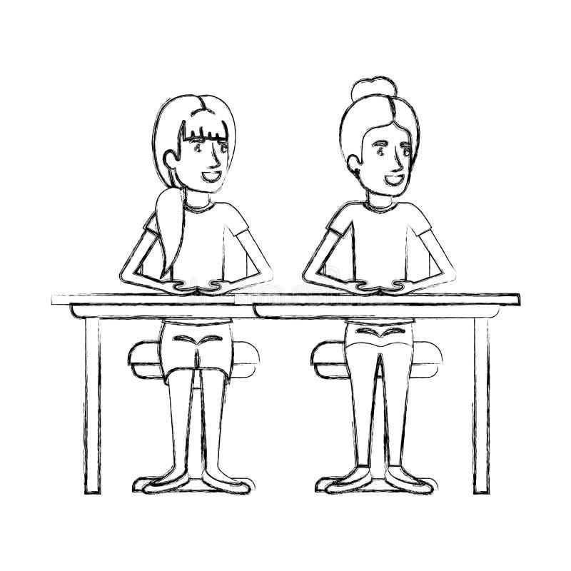 Unscharfe Schattenbildfrauen, die im Schreibtisch einer mit dem gesammelten Haar und der andere mit Pferdeschwanzfrisur sitzen vektor abbildung