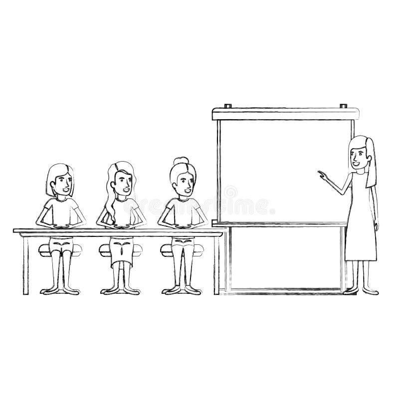 Unscharfe Schattenbildfrauengruppe, die in einem Schreibtisch für Exekutivfrau in presentacion Geschäftsleuten sitzt lizenzfreie abbildung