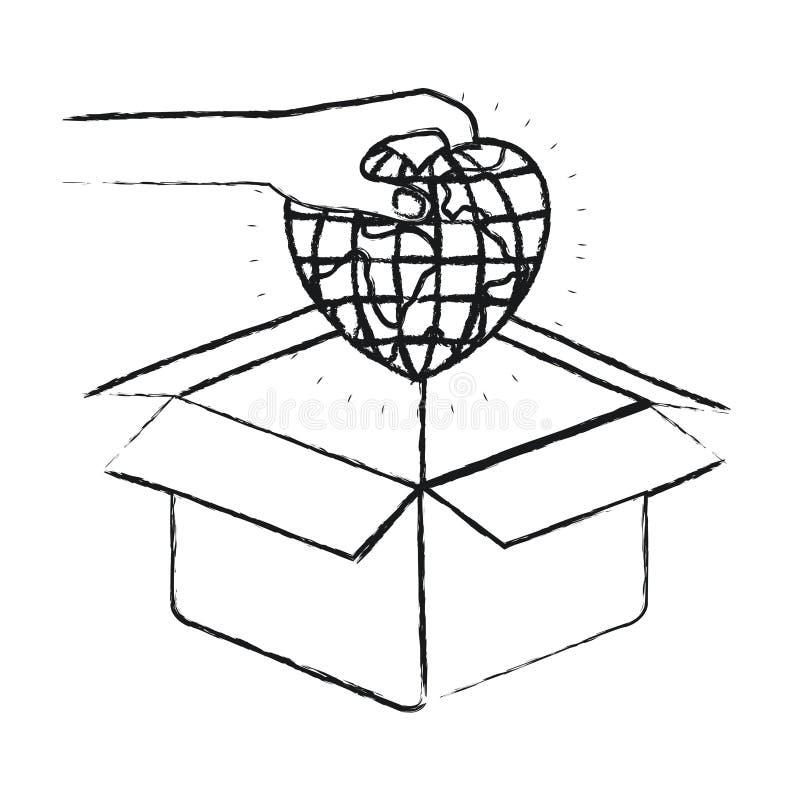 Unscharfe Schattenbildhand, die eine Kugelerdwelt in der Herzform hält, um in der Pappschachtel niederzulegen stock abbildung