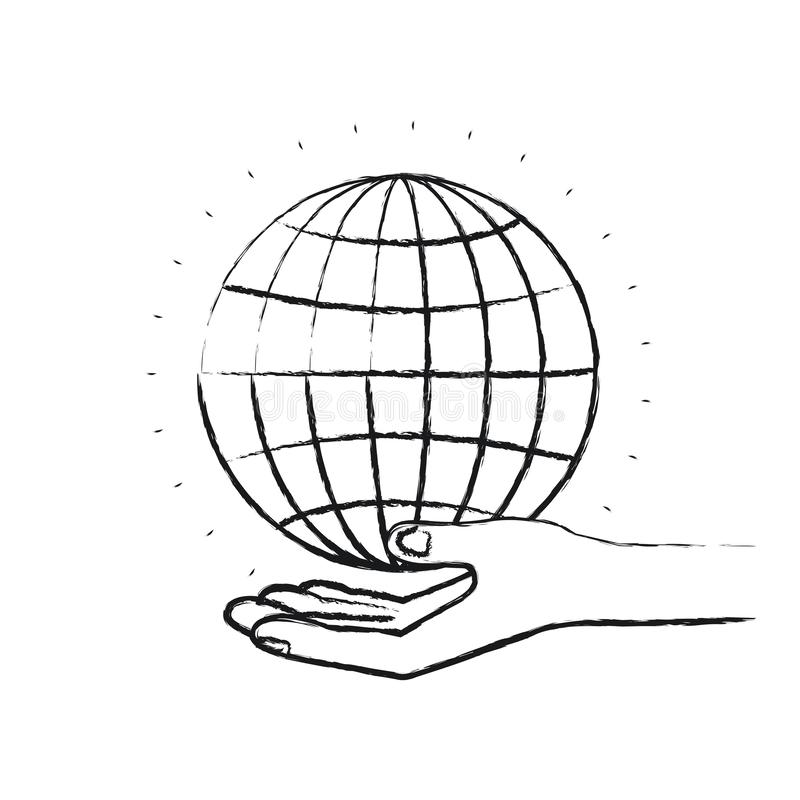 Unscharfe Schattenbildhandpalme, die ein Kugeldiagramm-Nächstenliebesymbol gibt stock abbildung