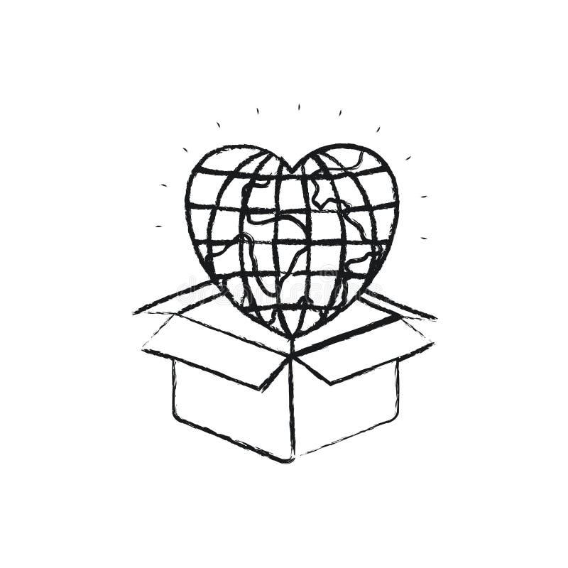 Unscharfe Schattenbildkugel-Erdwelt in der Herzform, die aus Pappschachtel herauskommt stock abbildung