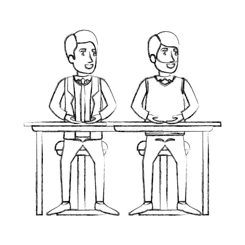 Unscharfe Schattenbildmänner, die im Schreibtisch einer mit zufälliger Kleidung und Bart und der andere mit Gesellschaftsanzug un vektor abbildung