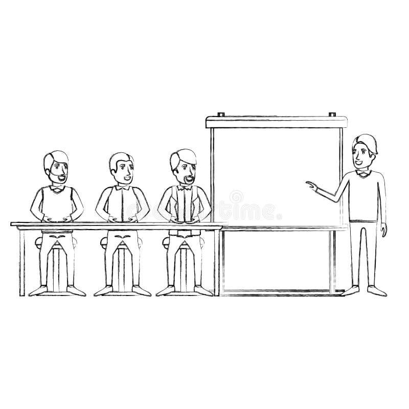 Unscharfe Schattenbildmanngruppe, die in einem Schreibtisch für Exekutivmann in presentacion Geschäftsleuten sitzt vektor abbildung