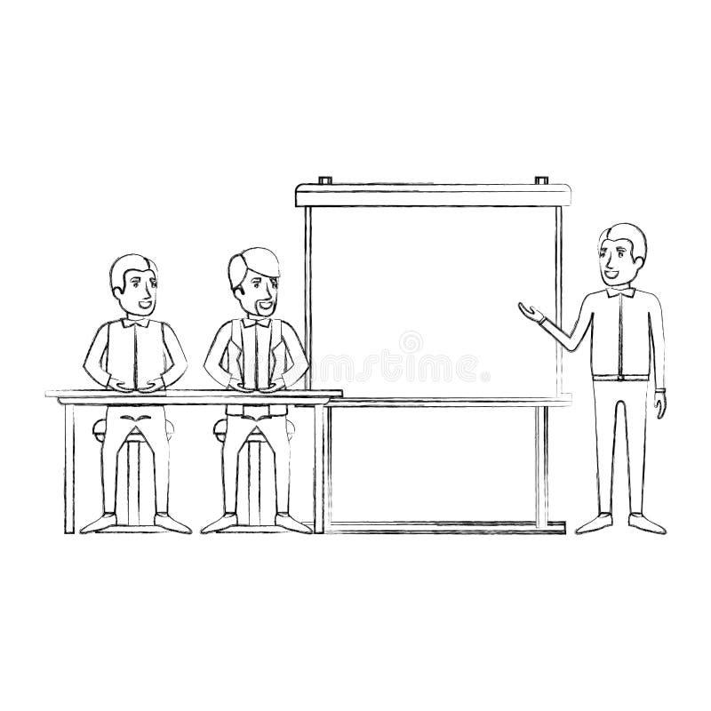 Unscharfe Schattenbildpaare des Mannes sitzend in einem Schreibtisch für Exekutivlektor in presentacion Geschäftsleuten stock abbildung
