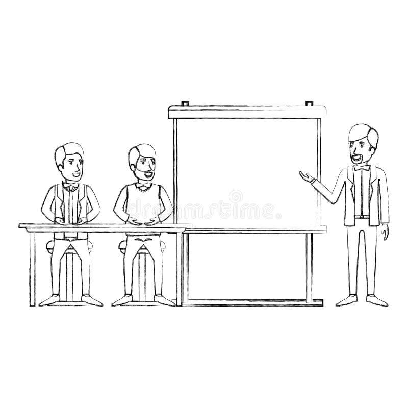Unscharfe Schattenbildpaare des Mannes sitzend in einem Schreibtisch für Exekutivredner in presentacion Geschäftsleuten lizenzfreie abbildung