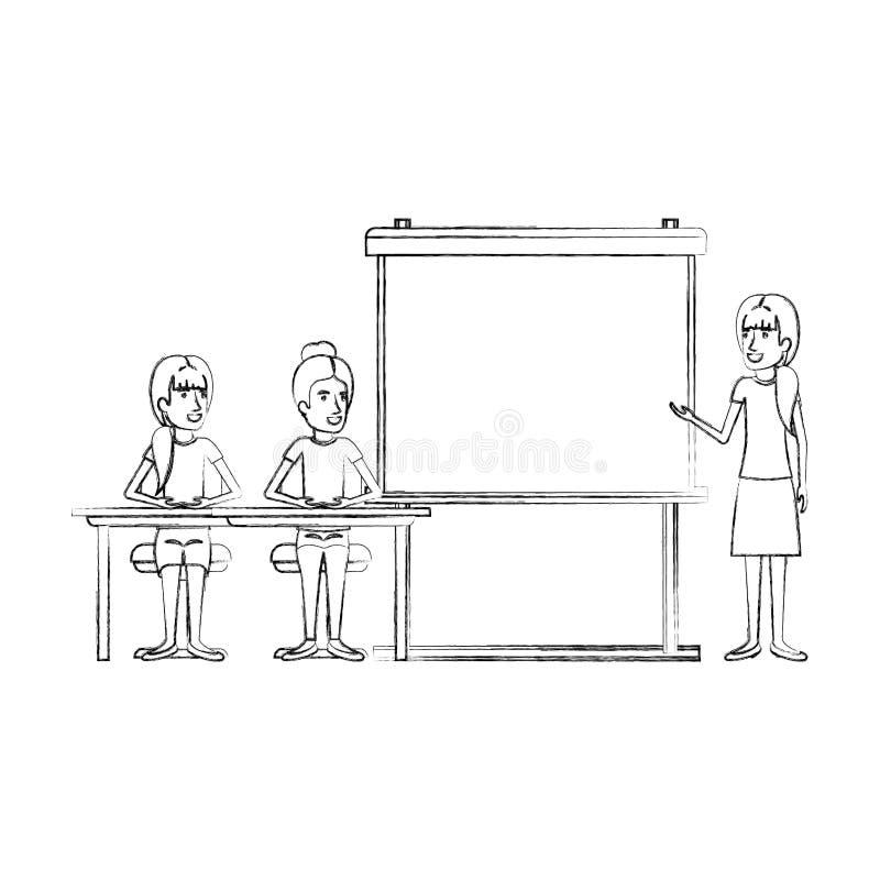 Unscharfe Schattenbildpaare Frauen, die in einem Schreibtisch für weiblichen Exekutivredner in presentacion Geschäftsleuten sitze stock abbildung