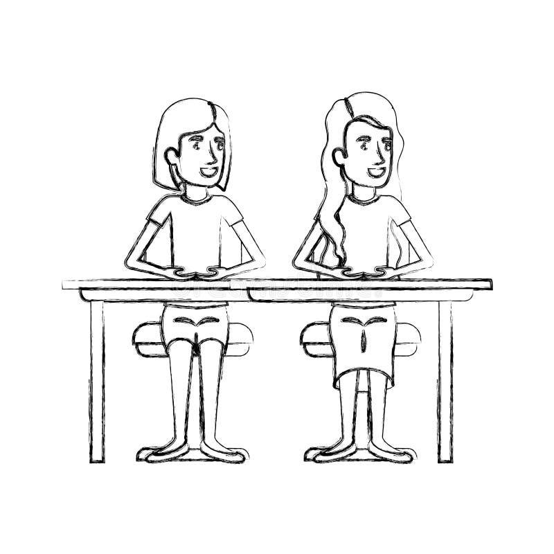Unscharfe Schattenbildpaare von den Frauen, die im Schreibtisch einer mit dem kurzen Haar und der andere mit dem lang gewellten H stock abbildung