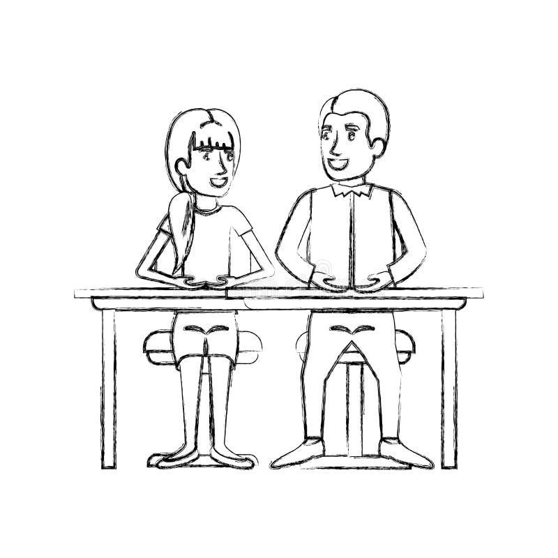 Unscharfe Schattenbildteamwork von den Paaren, die im Schreibtisch und in der Frau mit dem Pferdeschwanzhaar und Mannseite sitzen vektor abbildung