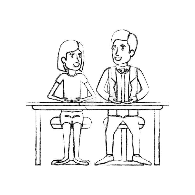 Unscharfe Schattenbildteamwork von den Paaren, die im Schreibtisch und in der Frau mit Seite des kurzen Haares und des Mannes sit vektor abbildung