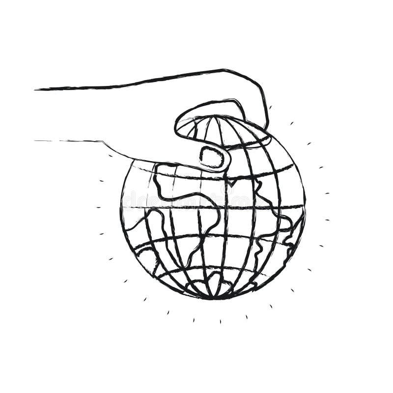 Unscharfe Seitenansicht des Schattenbildes der Hand ein Erdkugelweltnächstenliebesymbol halten, um niederzulegen stock abbildung