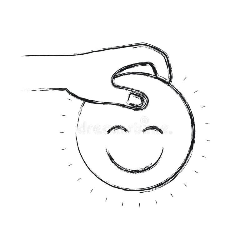 Unscharfe Seitenansicht des Schattenbildes der Hand ein glückliches Gesichtssymbol halten, um niederzulegen lizenzfreie abbildung