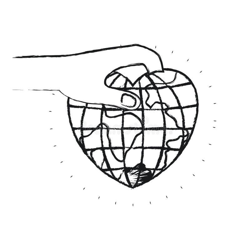 Unscharfe Seitenansicht des Schattenbildes der Hand eine Erdkugelwelt in der Herzform halten, um niederzulegen stock abbildung