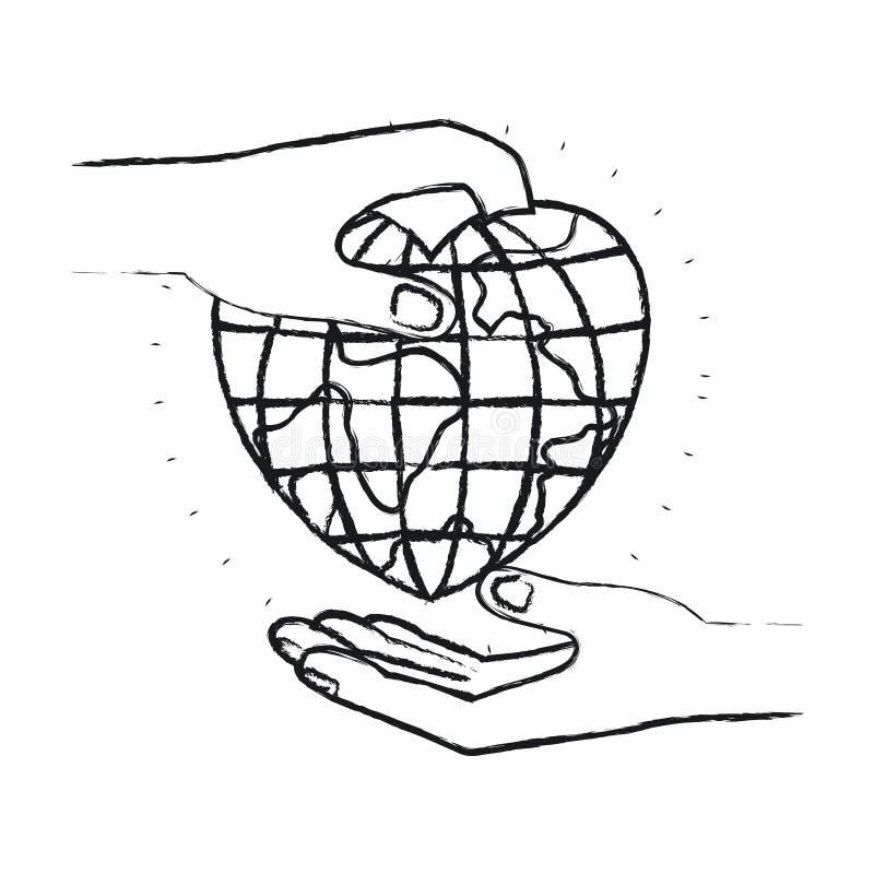 Unscharfe Seitenansicht des Schattenbildes des Palmenmenschen eine Erdkugelwelt in der Herzform halten, um in anderer Hand nieder vektor abbildung