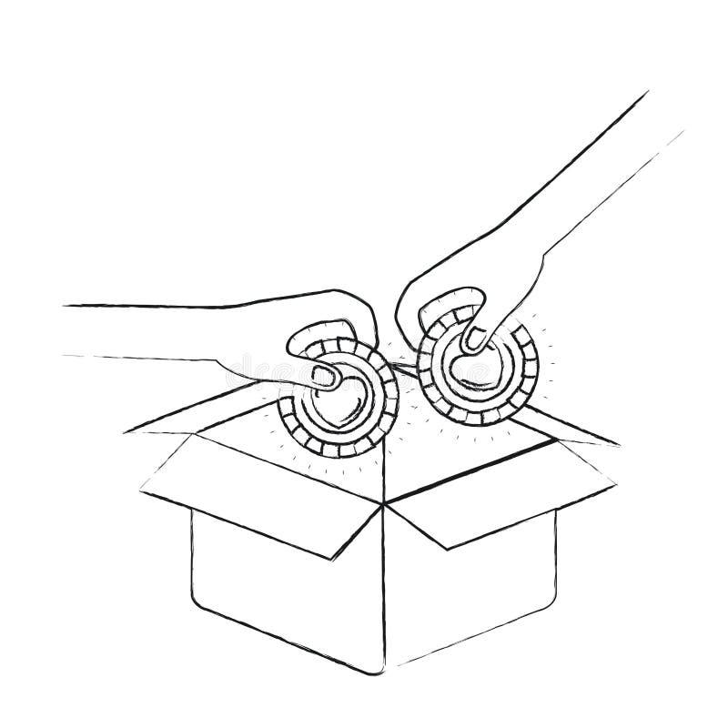 Unscharfe Seitenansicht des Schattenbildes von den Paarhänden, halten Münzen mit in der Pappschachtel niederzulegen der Herzform  lizenzfreie abbildung