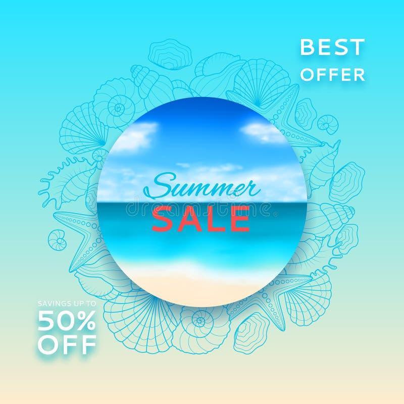 Unscharfe Sommerfahne des Verkaufs mit Muscheln und Starfishes stock abbildung