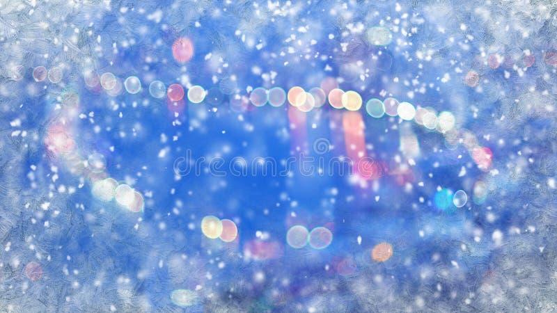 Unscharfe Stadt beleuchtet durch gefrorenes Fenster und Schneefälle vektor abbildung