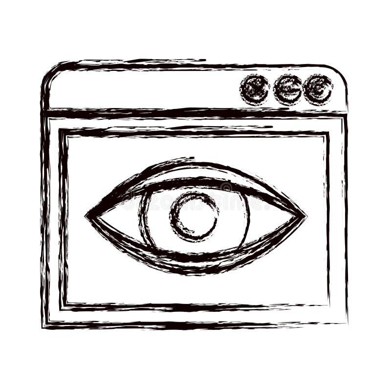 Unscharfe starke KonturnBrowser Window mit Augenskizzenikone stock abbildung