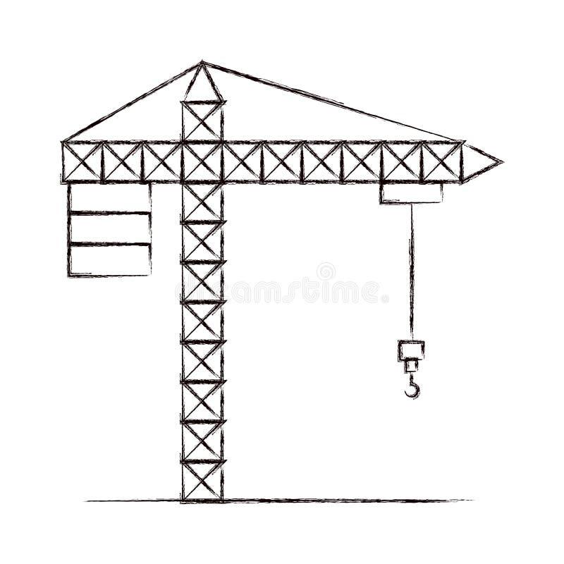 Unscharfe starke Konturnkranmaschinerie für Bau lizenzfreie abbildung