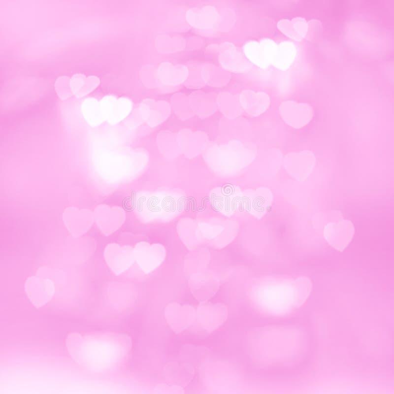 Unscharfe Unfocussed Lichter in Form des Herz-Rosa-Hintergrundes stockfotos