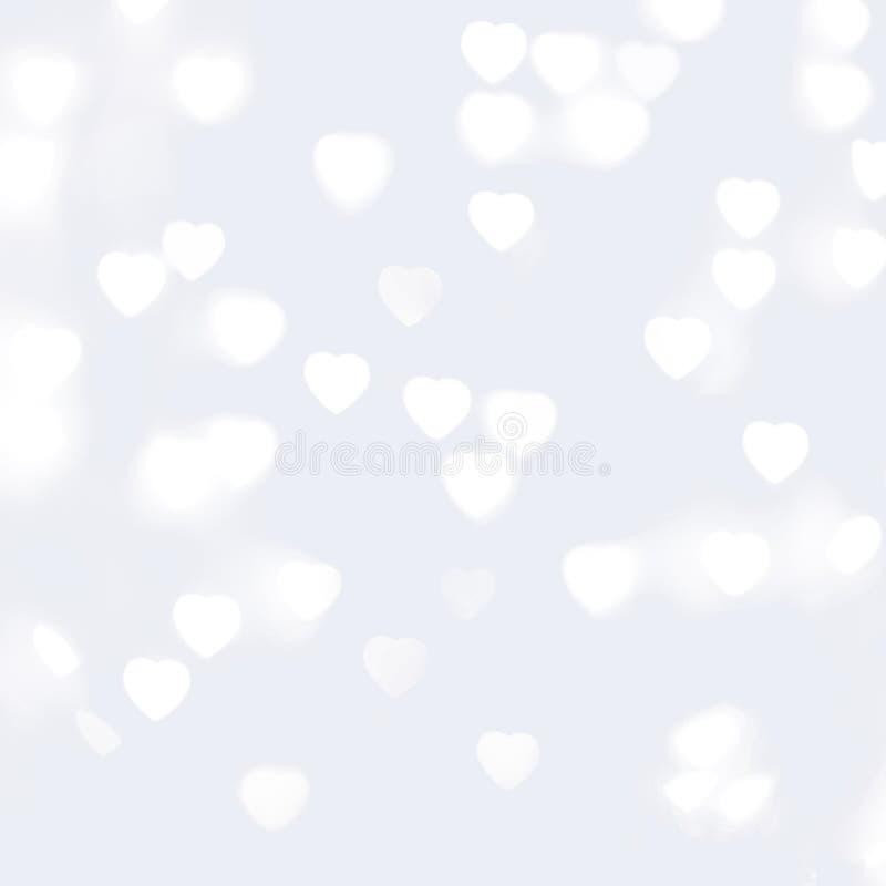 Unscharfe Unfocussed Lichter in Form des Herz-Weiß-Hintergrundes stockfotos