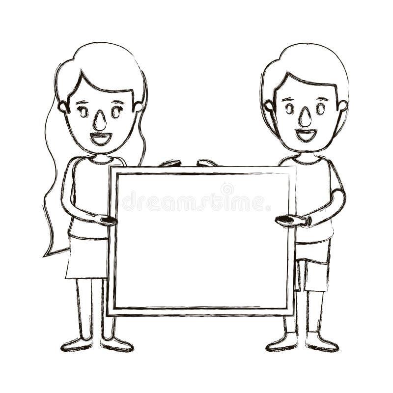 Unscharfe volle Körperpaare der Schattenbildkarikatur, die ein quadratisches Plakat halten stock abbildung