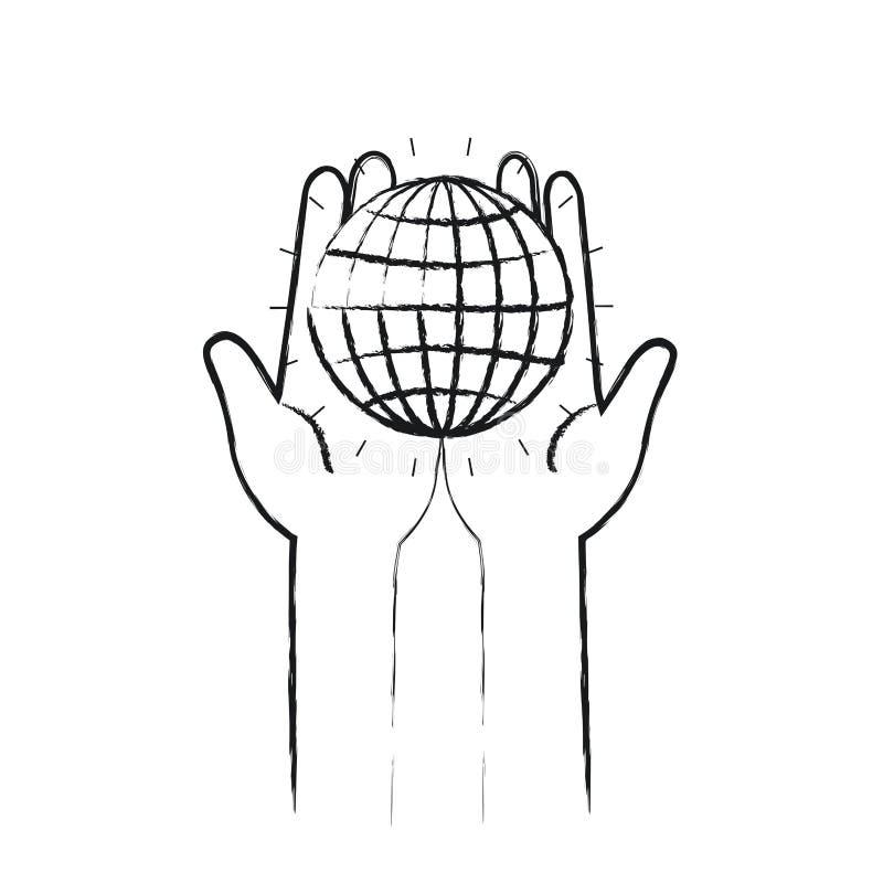 Unscharfe Vorderansicht des Schattenbildes von den Händen, die in den Palmen ein Kugeldiagramm mit Linien halten stock abbildung