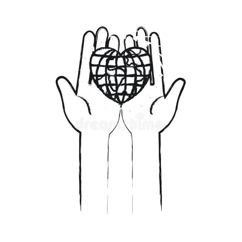 Unscharfe Vorderansicht des Schattenbildes von den Händen, die in den Palmen eine Erdkugelwelt in der Herzform halten lizenzfreie abbildung