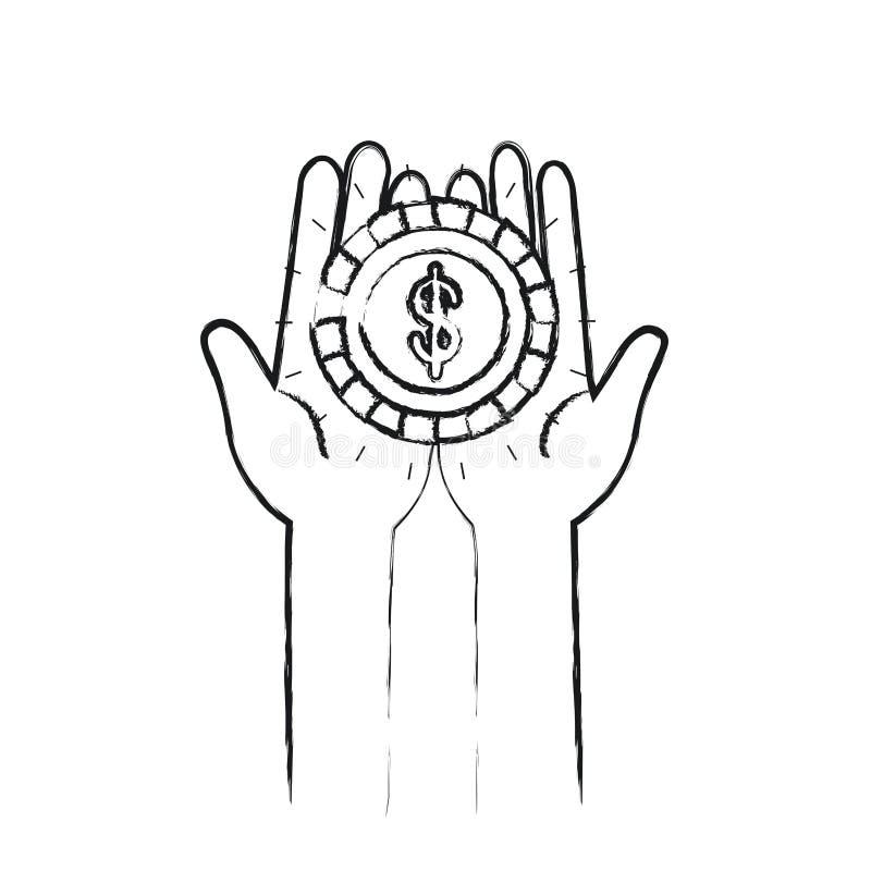 Unscharfe Vorderansicht des Schattenbildes von den Händen, die in den Palmen eine Münze mit Dollarsymbol halten stock abbildung