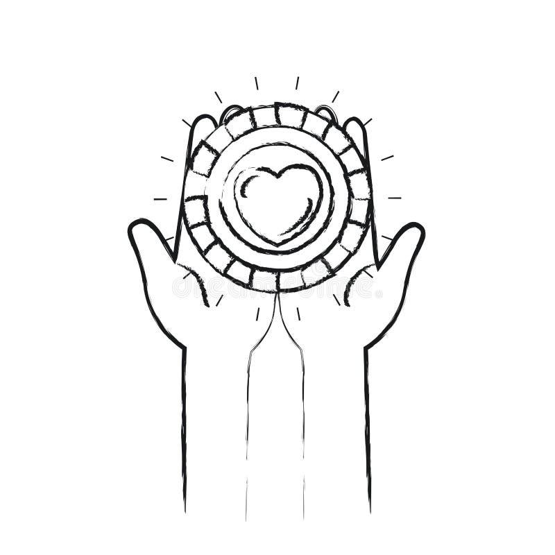 Unscharfe Vorderansicht des Schattenbildes von den Händen, die in den Palmen eine Münze mit Herzform innerhalb des Nächstenliebes lizenzfreie abbildung