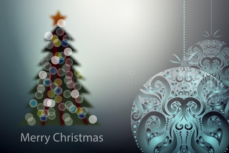 Unscharfer Baum des Vektors Weihnachten und dekorative Bälle vektor abbildung