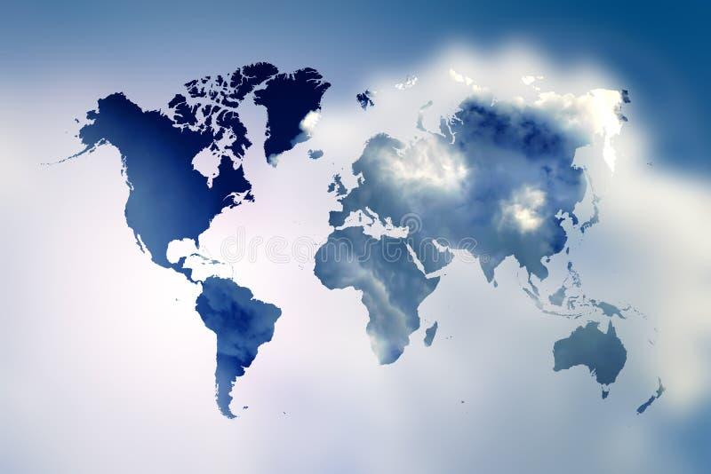 Unscharfer blauer Himmel des Aufflackerns mit Weltkarte stock abbildung