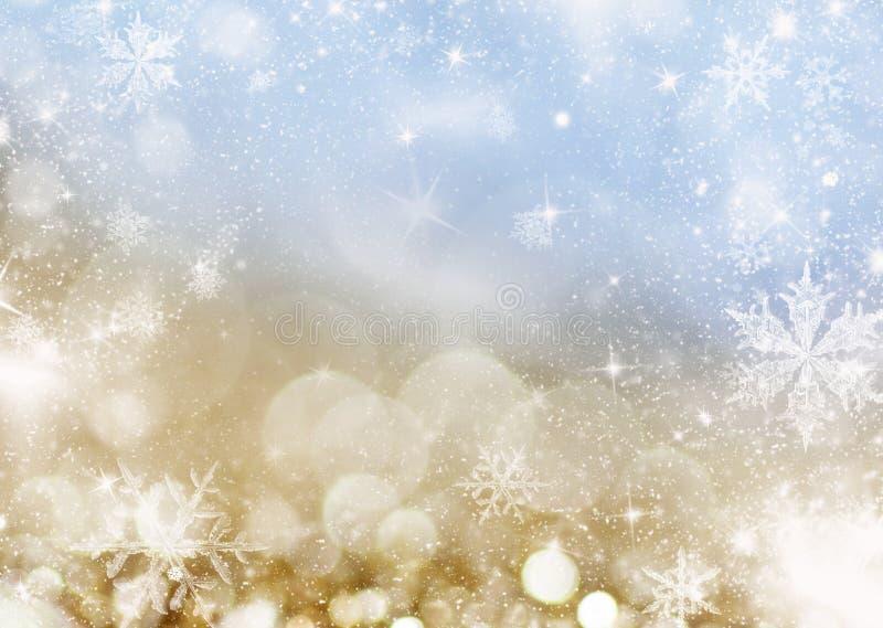 unscharfer bokeh Hintergrund von Weihnachtslichtern und -schneeflocken stockfotografie