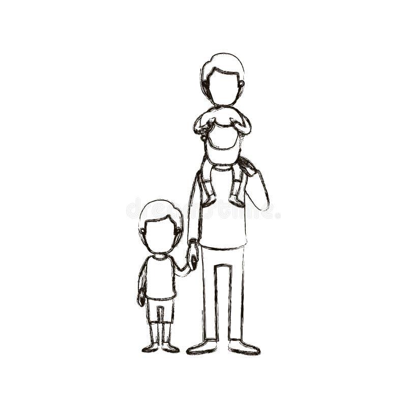 Unscharfer gesichtsloser bärtiger Vater der Schattenbildkarikatur mit Jungen auf seiner Rückseite und Kind genommenen Händen lizenzfreie abbildung