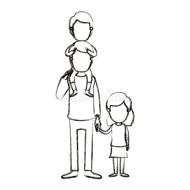 Unscharfer gesichtsloser Vati der Schattenbildkarikatur mit Jungen auf seiner Rückseite und Mädchen genommenen Händen lizenzfreie abbildung